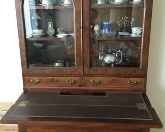 Antique secretary with desk top down