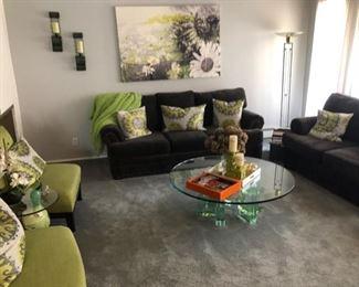 Pair gray nailhead sofas & Vintage glass coffee table