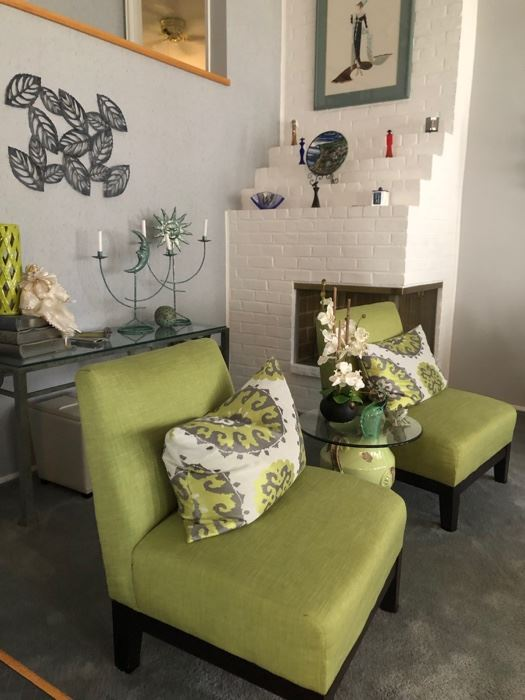 Contemporary living room furniture. Pair of chairs, console table & decor