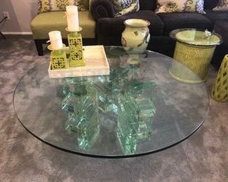 Vintage glass block coffee table