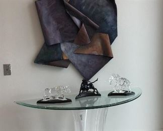 Jameson Wells art.  Glass & Lucite table with Swarovski figures.
