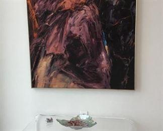 Dan F Howard Art.  Waterfall Lucite table.