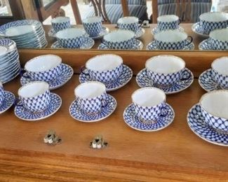 "LOMONOSOV Cobalt Net 10 - 6"" Plates  Total of 6 sets of Flat Cup & Saucer and 6 sets of Demitasse Cup & Saucer"