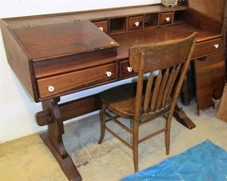 Pine writing desk with sloped compartment, drawers and cubbies