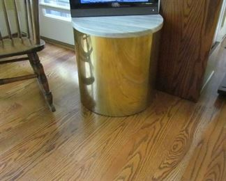 Brass and marble platform/side table