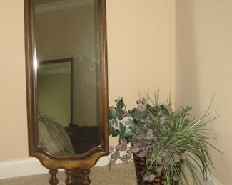 Swivel Floor Mirror, Accent Decor Faux Plant
