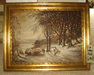 Oil on Canvas Signed by  GF Bastian, Glenn Franklin Bastian, 1890-1966 of Gas City, IN and Gary, Indiana Artist