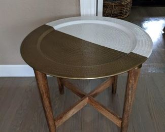 Gold and white metal and wood accent table