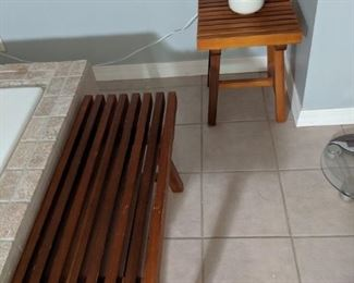 Teak bench and stool/table.