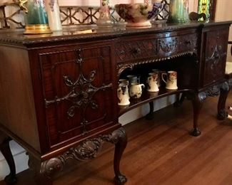 WARING AND GILLOW SIDEBOARD WITH BRASS GALLERY.