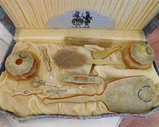Celluloid Dresser Set in Original Case