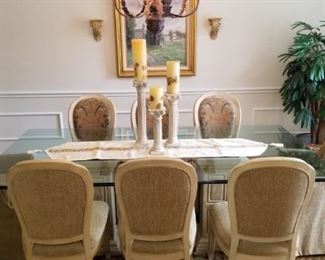 Drexel glass topped dining table - chairs sold separately