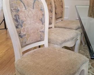 6 Drexel upholstered dining chairs and 2 upholstered host chairs (host chairs not pictured here) - dining table sold separately