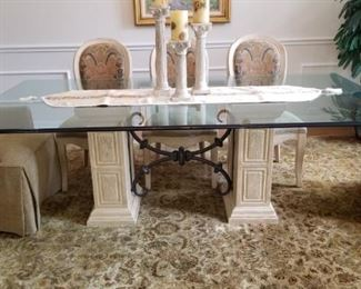 """Drexel glass topped Tuscan style dining table - 90 """" x 48"""" - chairs sold separately"""