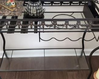Nice wrought iron/glass serving table/wine rack