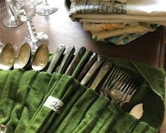 Silverplate, vintage linens