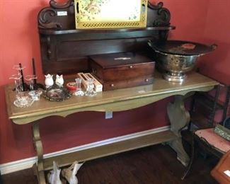 Antiqued table, silver chest,