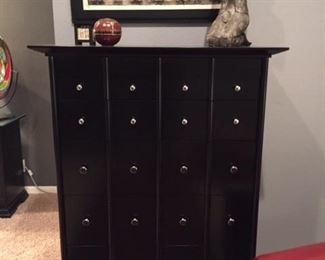 Broyhill black chest of drawers with silver tone pulls.