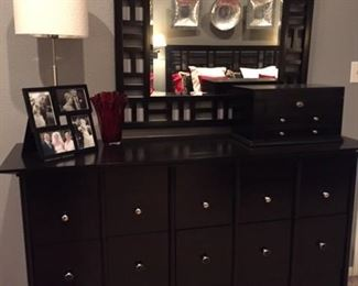 Broyhill dresser and mirror with silver tone pulls.