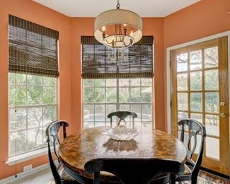"""Beautiful Hooker copper-topped dining table. 48"""" diameter. Near perfect condition."""