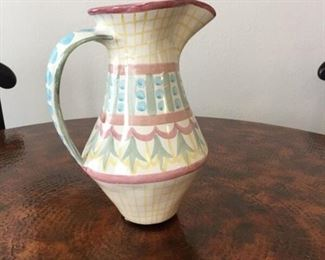 "Rare, early MacKenzie-Childs ""Madison"" pitcher. Perfect condition; highly collectible."