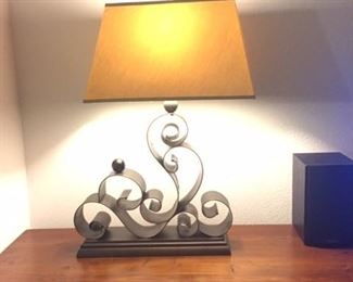 """Large decorative,  high quality metal table lamp.  35"""" tall. Weighs 24lbs."""