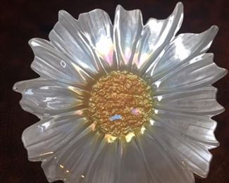 """Decorative glass flower dish.  About 16"""" diameter and 3"""" deep."""
