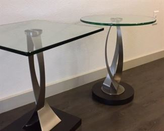 Renee side table with glass top, designed by Carl Mueller from Copenhagen Imports.  Two of these tables for sale, a round and a square top.