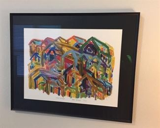 "Framed print signed by artist. ""Living Together"""