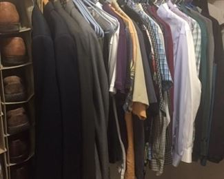 Men's clothing and shoes including sport coat; dress shirts, slacks, shoes and ties; casual shirts and pants; and sweaters; warm coat and jackets