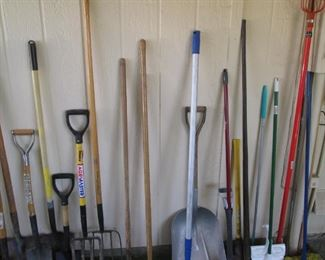 Large Array of Rakes, Shovels, Pitch Forks