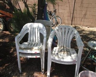 """Assorted Patio Chairs and Accent Furniture.             Men's & Ladies Bikes:  """"Huffy Highland"""" against back wall."""