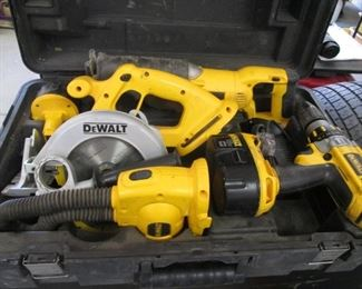 DeWalt 18V Drill, Saw, Light