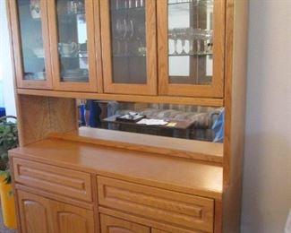 """Oak China Cabinet, 60"""" X 16"""""""
