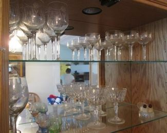 Etched Crystal Stemware & Assorted Stems