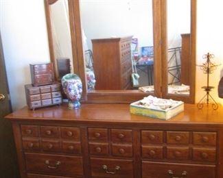 """Dresser & Tri-Fold Mirror, 66"""" X 18"""""""