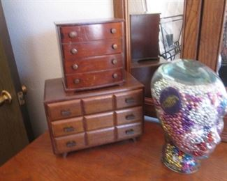 Small Jewelry Boxes and a Head filled with Mardi Gras Beads