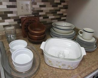 Ramekins, Assorted Dishes, Wood Bowls & Covered Corning Ware