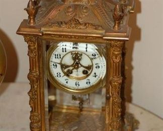 Antique William Gilbert Clock Co. Gilt Bronze Mantel Clock, Circa 1899