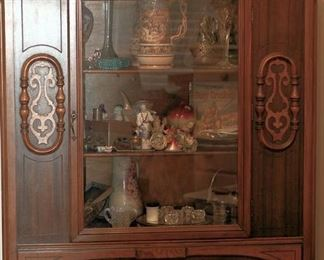 Jacobean Revival Walnut Cabinet With Castors