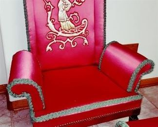 One of A Pair Of Red Asian Inspired Arm Chairs
