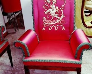 One of A Pair of Asian Inspired Arm Chairs