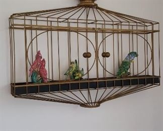 Wall Mount Faux Bird Cage with Pottery Birds