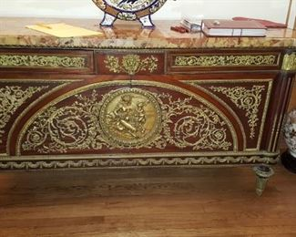Louis XVI Credenza With Bronze detail & Marble Top
