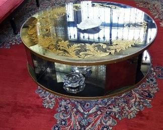 Circular Sofa Table with Mirrored Top