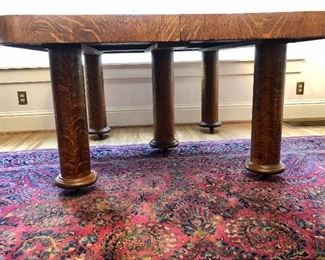 """Solid cross-cut oak, waterfall edge, 5-legged dining table with two leaves, 52""""x52"""" without leaves; leaf measurement TBA"""