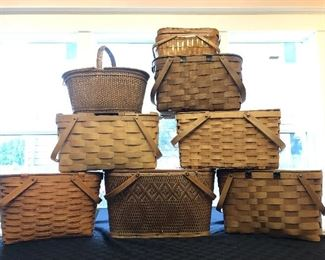 Small sampling of the variety of hinged woven baskets