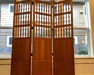 Solid wood, ornate room divider/screen
