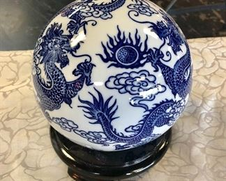 Oriental Blue & White Large Ball with Dragon Motif