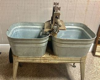 Vintage Double Galvanized Wash Tubs on Rolling Stand